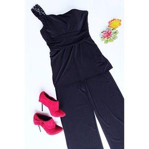 Black One Shoulder WHBM Jump Suit Size 8
